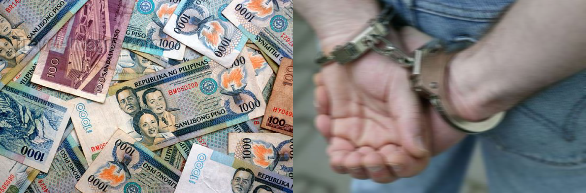 photo of money and handcuffed person