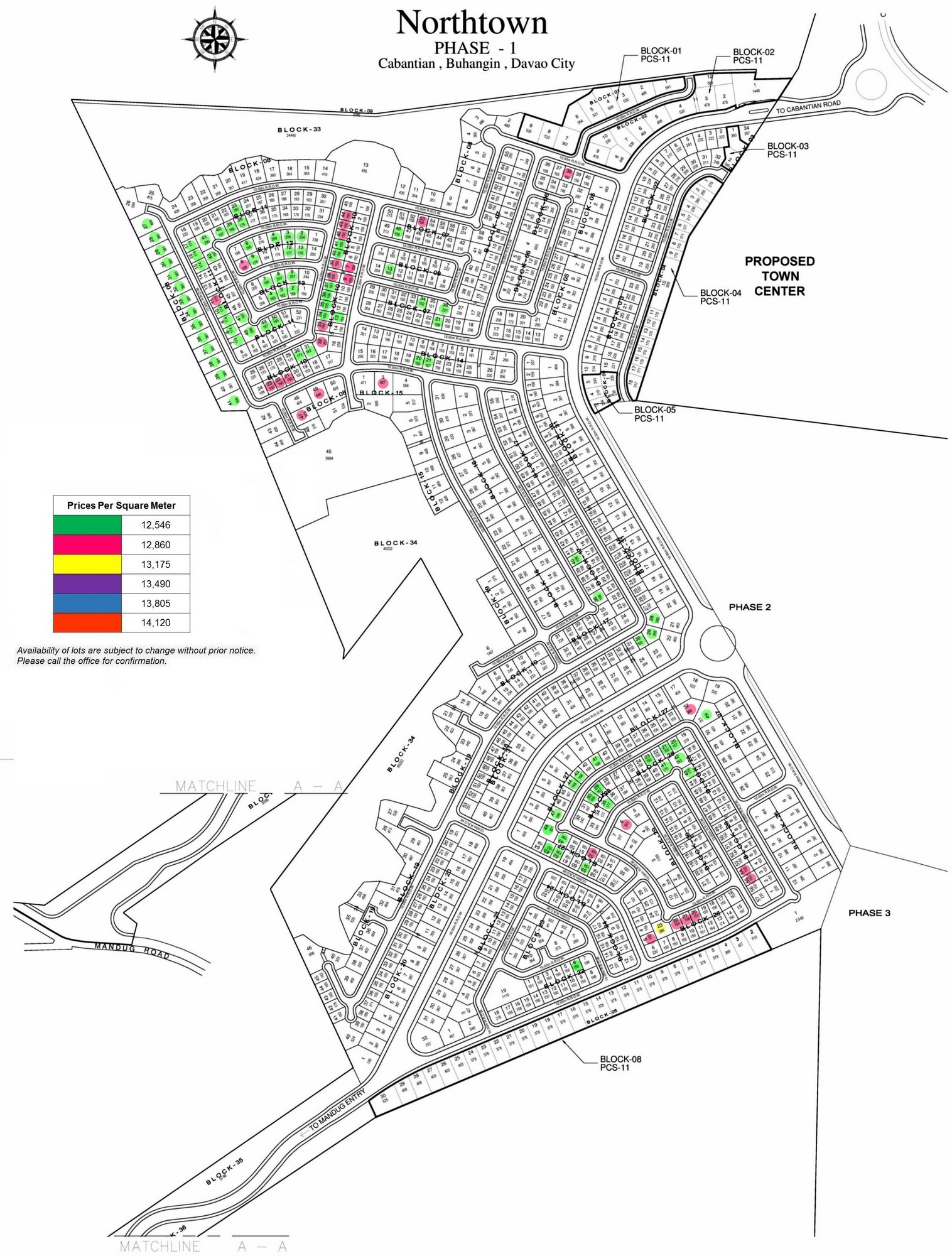 Northtown Phase 1 Site Development Map