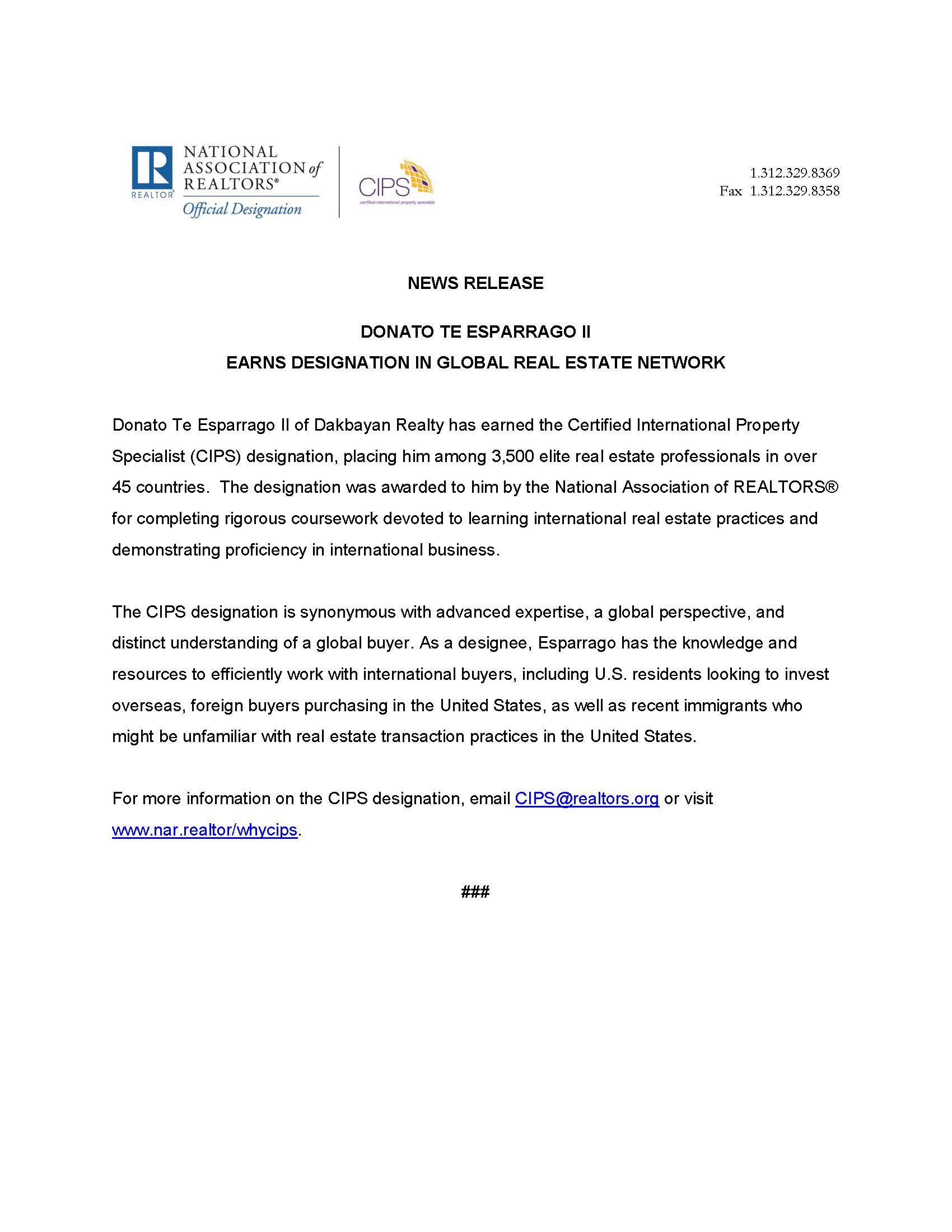 cips designation press release