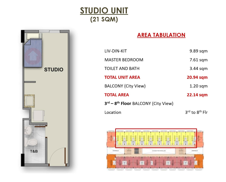 Camella northpoint close to town medium rise condominium for Studio type condo floor plan