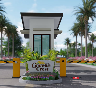 architect's rendering of Entrance gate of granville crest subdivision
