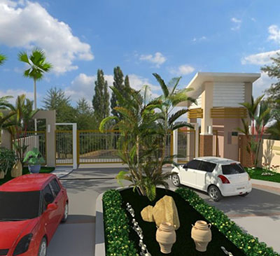 architect rendering of Hidalgo Homes entrance