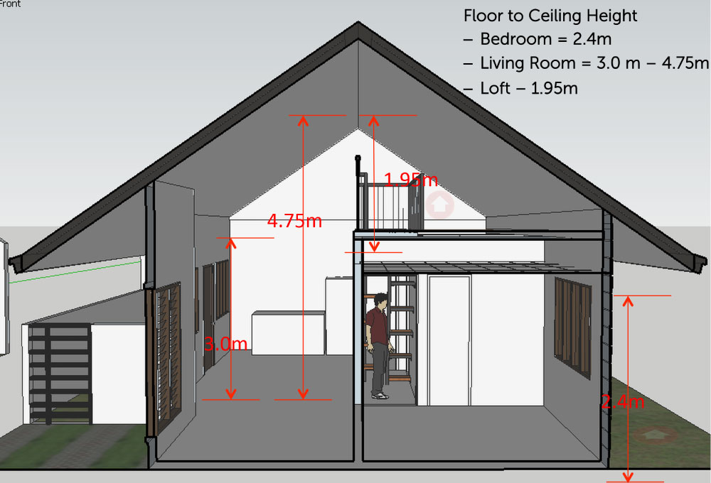 Height Specification Of Bungalow With Loft Model House High Ceiling